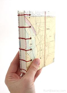 Oregon Map Journal with geological hazards map and coptic stitch handmade by Ruth Bleakley
