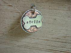 Opie needs this!! Dog pet id tag- Gracie- personalized dog bone id tag. $23.00, via Etsy.