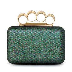 Shimmering Glitter Clutch With Shiny Rhinestone