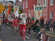 Parade with O Dochartaigh banner, reenactment of Cahir's Rebellion, Buncrana, August 2013