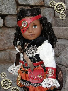 11 pcs Steampunk Victorian Style Costume for American Girl or other 18 inch doll. $185.00, via Etsy.