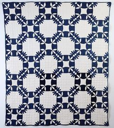 Blue and white Wandering Foot Quilt, circa 1880; New York State.  Stella Rubin Antiques.