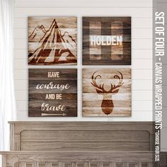 Rustic canvas prints for baby's nursery deer and by zoeysattic