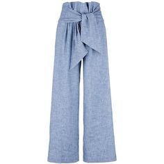 Msgm Wrap waist chambray culottes ($335) ❤ liked on Polyvore featuring pants, capris, blue, relaxed pants, summer pants, relaxed fit pants, wrap pants and msgm