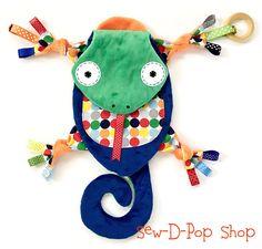 Lizard Baby Boy Blanket Lovey Teething Toy Ring Buddy