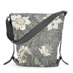 Ceannis - Väska Shoulder Bag Black Flower Linen 126fe61edfaf3