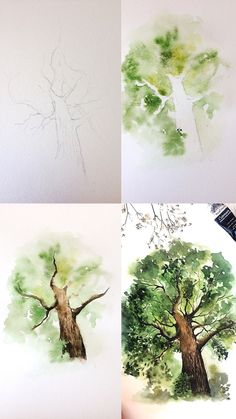 What is Your Painting Style? How do you find your own painting style? What is your painting style? Watercolour Tutorials, Watercolor Techniques, Paint Techniques, Drawing Techniques, Watercolor Trees, Watercolour Paintings, Watercolors, How To Watercolor, Watercolor Drawing