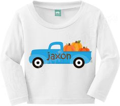 Personalized Blue Truck with Pumpkins Shirt / by TheIronTractor