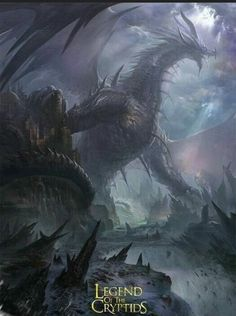 """Unknown Dragon - for """"Legend Of The Cryptids"""" (LOC) ©Applibot Inc. - ART by Rabbit tooth - Freelance artist Dark Fantasy Art, Fantasy Concept Art, Fantasy Artwork, Mythical Creatures Art, Magical Creatures, Fantasy Creatures, Fantasy Monster, Monster Art, Tiamat Dragon"""