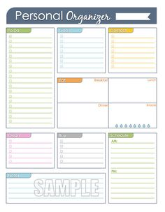 Personal Organizer - Editable Daily or Weekly Planner page