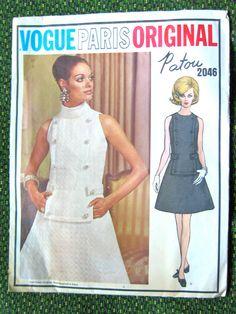 Vogue Paris Original 2046  1960s; Misses' one-piece dress.    Bust 32.5 inches