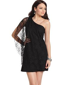 Little Black Dress: Sleeveless One Shoulder Lace A-Line