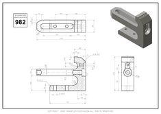 3D CAD EXERCISES 982 - STUDYCADCAM Isometric Drawing Exercises, Autocad Isometric Drawing, Mechanical Engineering Design, Mechanical Design, Cad Cam, Cad Drawing, Drawing Practice, Technical Drawing, Planer