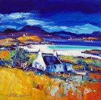 Overlooking Fiscavaig Bay, Skye John Bellany, William Lamb, Abstract Format, John Duncan, Oil On Canvas, Canvas Paintings, Landscape Paintings, Pastel, Cottage Art