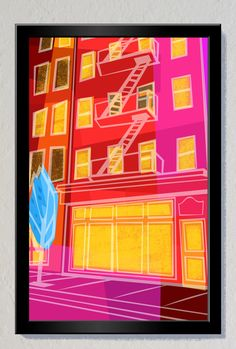 New York Storefront With Blue Tree Poster