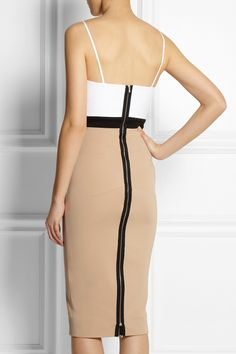 Victoria Beckham | Cami color-block stretch cotton-blend dress in white, taupe and black (back view)