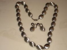 Vintage Bergere Silver Tone Necklace and Clip On Earrings Set Signed