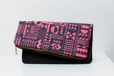 Geometric Pattern?! Leather Pouch neon pink Dark No ZP302 by CORIUMI, $52.00