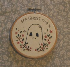 thesadghostclub:  I wanted to take our own advice and make something new, so I embroidered this lil sad ghostie.He's available on the shop and he's the only one (for now!)  This little cutie has been sold, but we are thinking of making some more stitchie pieces soon x