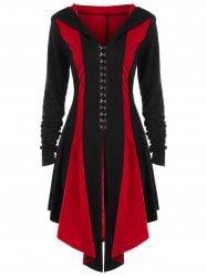 Lace Up Hook Button Hooded Coat - RED WITH BLACK