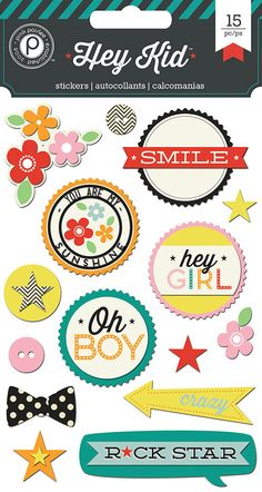 Pink Paislee Hey Kid Layered Chipboard Stickers by LaPetiteFeuille, $3.59