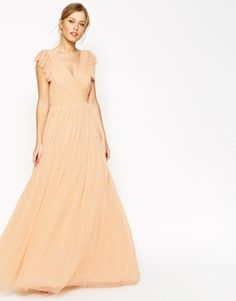 Aumentar Vestido largo de malla de primera calidad Princess de ASOS SALON