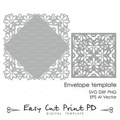 Wedding invitation Card Envelope Template Lace folds COVER ( svg, dxf, ai, eps, png) laser cutout die cut paper Digital Instant Download