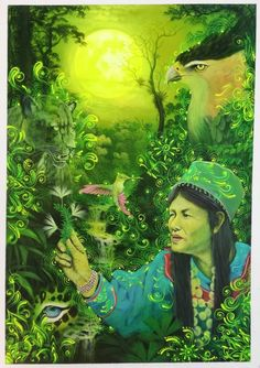 "Original Hand Painted on Canvas ""Magia de Curendera"" by Jorge Ramirez, student of Amaringo Jorge Ramirez, Amazon Rainforest, Medicinal Plants, Art School, Oil On Canvas, Fairy Tales, My Arts, Hand Painted, Drawings"