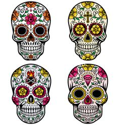 Day of the dead skull set vector - by vectorkingdom on VectorStock®