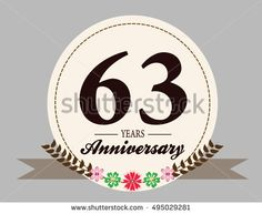 63 years anniversary logo with oval shape, flower, and ribbon. anniversary for birthday, wedding, celebration, and party