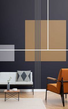 48 Ideas For Geometric Wallpaper Living Room Mid Century Geometric Wallpaper Living Room, Geometric Wall Paint, Modern Wall Paint, Bathroom Mural, Bathroom Ideas, Bathroom Wallpaper, Bathroom Interior, Mid Century Modern Wallpaper, Bedroom Wall Designs