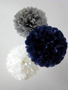 Paper Pom Poms -Set of 10- Your Color Choice - Navy and Gray Decorations - Baby Boy shower decor. $30.00, via Etsy.