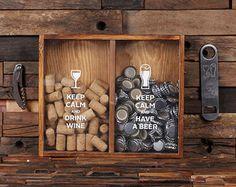 Beer Cap Holder Personalized Shadow Box FREE Bottle Opener Corkscrew Wine Cork Holder, Couple , Craft Beer His and Hers, Wedding Gift 025335 Wine Cork Shadow Box, Shadow Box Display Case, Wine Cork Holder, Wine Cork Crafts, Wood Crafts, Bottle Crafts, Clay Crafts, Beer Caps, Wine Decor