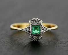 Art Deco Emerald Ring - Antique Art Deco Emerald & Diamond 18ct Gold and Platinum Ring on Etsy, $981.05 by tamara