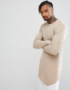 882922da308 Asos Super Longline Muscle Long Sleeve Rib T-Shirt With Curved Hem In Beige  Burton