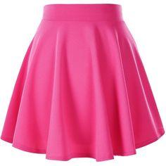 Women's Basic Solid Versatile Stretchy Flared Casual Mini Skater Skirt ($9.25) ❤ liked on Polyvore featuring skirts, mini skirts, pink circle skirt, stretchy skirt, pink mini skirt, stretch skirts and skater skirt