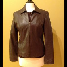 Brown Leather Jacket Like New Condition!  Very Soft Lambskin Leather.  Fitted, Pockets on Sides. Sonoma Jackets & Coats