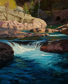 Waterfall 1  by Dennis Farris Oil ~  x