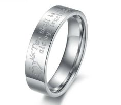 316l Stainless Steel High Polished Stone Mandrel Heart Couple Lovers Rings for Wedding/Engagement/Promise/Eternity Jewelrywe. $7.99. Stainless steel rings for couples/lovers. List price is for one ring only. Purchase two rings for a matching set.. Weight: 4g for male; 2g for female. Two shall be as one always protects. Always trusts. Always love Engraved. Width: 5mm for male; 3mm for female