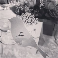 Pretty personalised bird glass toppers for place-cards. Wedding stationery by www.poppyseedcollective.com.