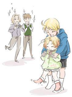 Teaching Mattie how to walk~ hetalia  (so cute! it makes me wanna cry~)