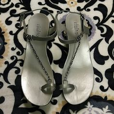 Ends 5/20! Silver Wedge Sandals Lightly worn, black base with silver insole & ankle strap. The ankle & toe are connected by a jeweled chain. The sole is very comfy & has a lot of cushion :) Shoes Sandals