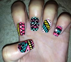 Hand painted tribal/aztec patterns