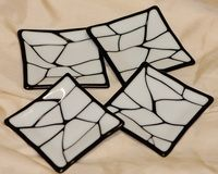 Fused Glass Square Dessert Plates - White on Black - 5 x 5 Inches