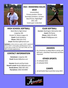 Softball resume sports resumes recruiting flyers for Sports profile template