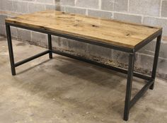"""oil stained oak, 1.5"""" raw steel tube"""
