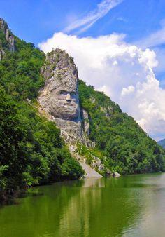 King's Decebal Statue On The Shores Of Danube River, Orsova Romania
