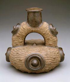 Stirrup-spout vessel. Date: c. 900-200 BC. South America, Peru - Chavin style