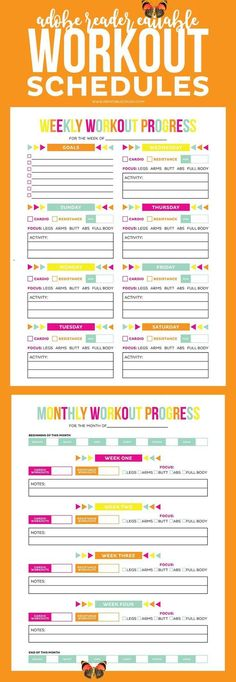 Editable Printable Workout Schedule Download this Adobe Reader Editable Printable Workout Schedule and Progress sheet to help you keep in shape! Completely customize your workout routine with these printables!<br> Are you putting off getting in shape? Then you need these Editable Printable Workout Schedule to keep organized! There's nothing more motivating than getting everything written down! Includes a weekly workout schedule AND a progress tracker. Edit this file in Adobe Reader so you… Quick Weight Loss Tips, Weight Loss Help, Losing Weight Tips, Weight Gain, Body Weight, Water Weight, Reduce Weight, Yoga Routine, Gym Routine Women