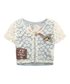 Look what I found on #zulily! White & Blue Lace Cap-Sleeve Tee - Infant, Toddler & Girls #zulilyfinds
